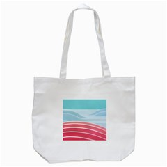 Wave Waves Blue Red Tote Bag (white) by Alisyart
