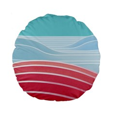 Wave Waves Blue Red Standard 15  Premium Flano Round Cushions by Alisyart