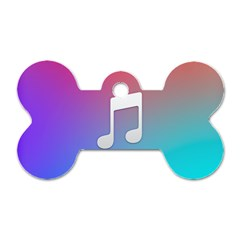 Tunes Sign Orange Purple Blue White Music Notes Dog Tag Bone (two Sides) by Alisyart
