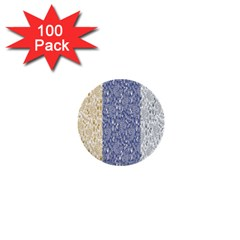Flower Floral Grey Blue Gold Tulip 1  Mini Buttons (100 Pack)  by Alisyart