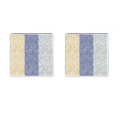 Flower Floral Grey Blue Gold Tulip Cufflinks (square) by Alisyart