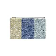 Flower Floral Grey Blue Gold Tulip Cosmetic Bag (small)  by Alisyart