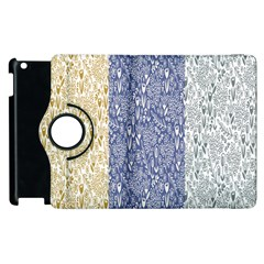 Flower Floral Grey Blue Gold Tulip Apple Ipad 2 Flip 360 Case by Alisyart