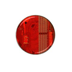 Computer Texture Red Motherboard Circuit Hat Clip Ball Marker (4 Pack)