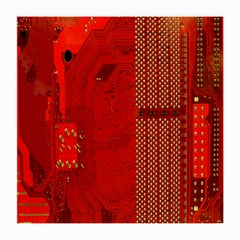 Computer Texture Red Motherboard Circuit Medium Glasses Cloth (2 Side) by Simbadda