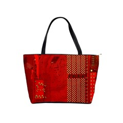 Computer Texture Red Motherboard Circuit Shoulder Handbags by Simbadda