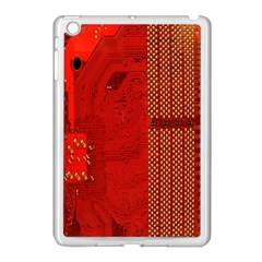 Computer Texture Red Motherboard Circuit Apple iPad Mini Case (White) by Simbadda