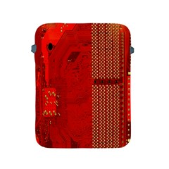 Computer Texture Red Motherboard Circuit Apple Ipad 2/3/4 Protective Soft Cases by Simbadda
