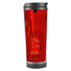 Computer Texture Red Motherboard Circuit Travel Tumbler by Simbadda