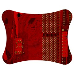 Computer Texture Red Motherboard Circuit Jigsaw Puzzle Photo Stand (bow) by Simbadda