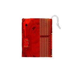 Computer Texture Red Motherboard Circuit Drawstring Pouches (xs)  by Simbadda