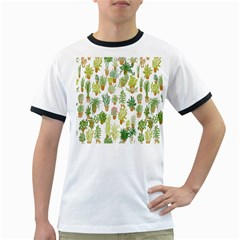 Flowers Pattern Ringer T Shirts