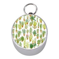 Flowers Pattern Mini Silver Compasses