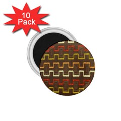 Fabric Texture Vintage Retro 70s Zig Zag Pattern 1 75  Magnets (10 Pack)  by Simbadda