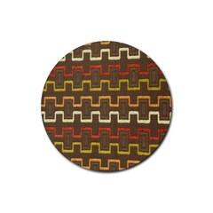Fabric Texture Vintage Retro 70s Zig Zag Pattern Rubber Coaster (round)  by Simbadda