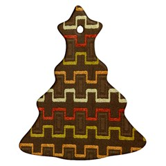 Fabric Texture Vintage Retro 70s Zig Zag Pattern Christmas Tree Ornament (two Sides) by Simbadda