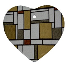 Fabric Textures Fabric Texture Vintage Blocks Rectangle Pattern Ornament (heart) by Simbadda