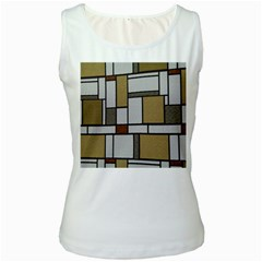 Fabric Textures Fabric Texture Vintage Blocks Rectangle Pattern Women s White Tank Top by Simbadda