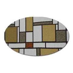 Fabric Textures Fabric Texture Vintage Blocks Rectangle Pattern Oval Magnet by Simbadda