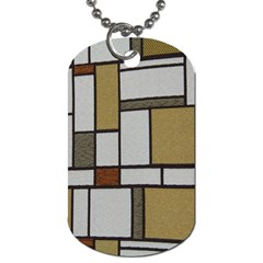 Fabric Textures Fabric Texture Vintage Blocks Rectangle Pattern Dog Tag (one Side) by Simbadda