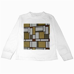 Fabric Textures Fabric Texture Vintage Blocks Rectangle Pattern Kids Long Sleeve T Shirts by Simbadda