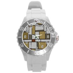 Fabric Textures Fabric Texture Vintage Blocks Rectangle Pattern Round Plastic Sport Watch (L)