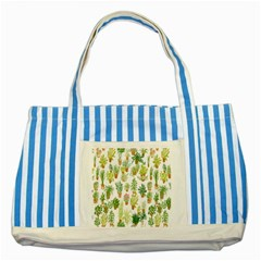 Flowers Pattern Striped Blue Tote Bag by Simbadda