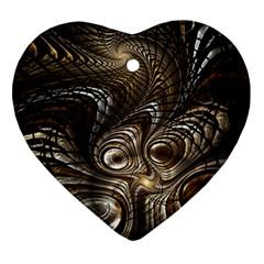 Fractal Art Texture Neuron Chaos Fracture Broken Synapse Ornament (heart) by Simbadda