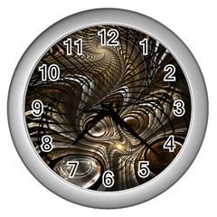 Fractal Art Texture Neuron Chaos Fracture Broken Synapse Wall Clocks (silver)  by Simbadda
