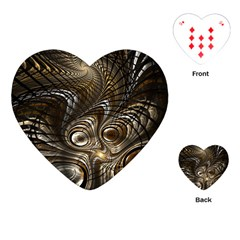 Fractal Art Texture Neuron Chaos Fracture Broken Synapse Playing Cards (heart)  by Simbadda