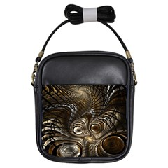 Fractal Art Texture Neuron Chaos Fracture Broken Synapse Girls Sling Bags by Simbadda