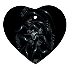 Fractal Disk Texture Black White Spiral Circle Abstract Tech Technologic Ornament (heart)