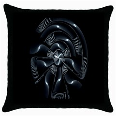 Fractal Disk Texture Black White Spiral Circle Abstract Tech Technologic Throw Pillow Case (black)