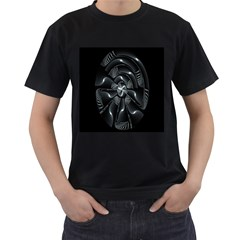 Fractal Disk Texture Black White Spiral Circle Abstract Tech Technologic Men s T Shirt (black) (two Sided)