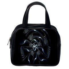 Fractal Disk Texture Black White Spiral Circle Abstract Tech Technologic Classic Handbags (one Side)