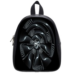 Fractal Disk Texture Black White Spiral Circle Abstract Tech Technologic School Bags (small)