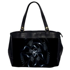 Fractal Disk Texture Black White Spiral Circle Abstract Tech Technologic Office Handbags by Simbadda