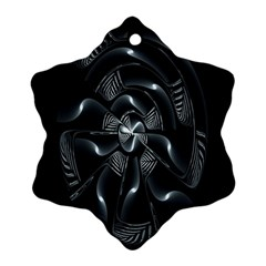 Fractal Disk Texture Black White Spiral Circle Abstract Tech Technologic Snowflake Ornament (two Sides)