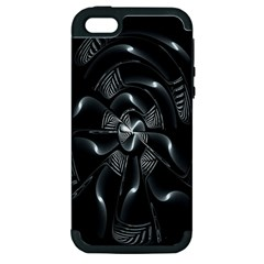 Fractal Disk Texture Black White Spiral Circle Abstract Tech Technologic Apple Iphone 5 Hardshell Case (pc+silicone)