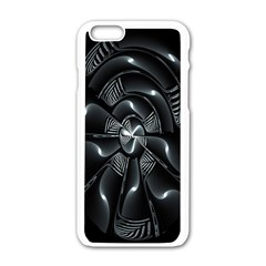 Fractal Disk Texture Black White Spiral Circle Abstract Tech Technologic Apple Iphone 6/6s White Enamel Case by Simbadda