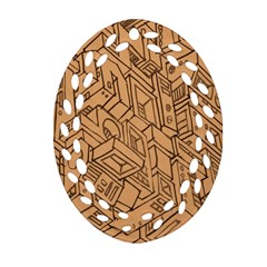Mechanical Tech Pattern Oval Filigree Ornament (two Sides)