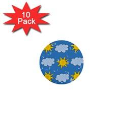 Sunshine Tech Blue 1  Mini Buttons (10 Pack)  by Simbadda