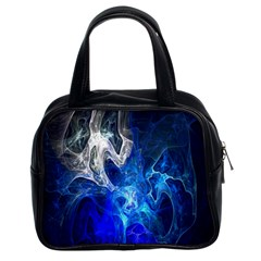 Ghost Fractal Texture Skull Ghostly White Blue Light Abstract Classic Handbags (2 Sides) by Simbadda