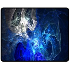 Ghost Fractal Texture Skull Ghostly White Blue Light Abstract Double Sided Fleece Blanket (medium)  by Simbadda