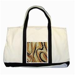 Polka Dot Texture Fabric 70s Orange Swirl Cloth Pattern Two Tone Tote Bag by Simbadda