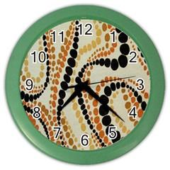 Polka Dot Texture Fabric 70s Orange Swirl Cloth Pattern Color Wall Clocks by Simbadda