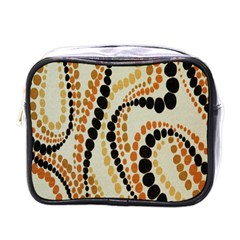 Polka Dot Texture Fabric 70s Orange Swirl Cloth Pattern Mini Toiletries Bags by Simbadda
