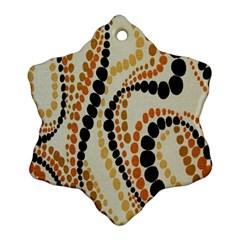 Polka Dot Texture Fabric 70s Orange Swirl Cloth Pattern Ornament (snowflake) by Simbadda