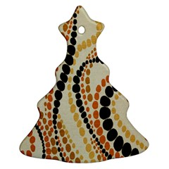 Polka Dot Texture Fabric 70s Orange Swirl Cloth Pattern Ornament (christmas Tree)  by Simbadda