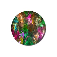Fractal Texture Abstract Messy Light Color Swirl Bright Magnet 3  (round) by Simbadda